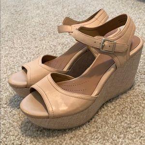 Clark's artisan tan wedge sandals size 7.5